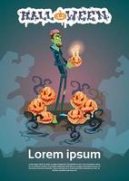 Happy Halloween Graphic with Zombie Man Holding Pumpkin
