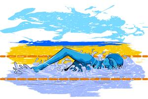 Concepto de deportista haciendo natación