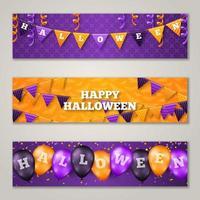 Halloween bannières horizontales avec des ballons et des drapeaux