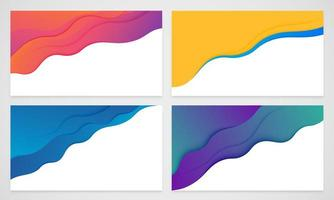 Modern wavy layered paper cut-out background set