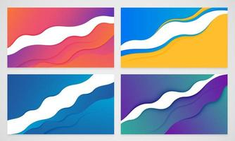 Modern wavy layered paper cut-out background set vector