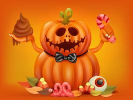 Glückliche Halloween-Konzeptkarte mit doppeltem Kürbischarakter