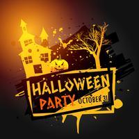 immagine di celebrazione di Halloween con casa stregata, albero e zucca