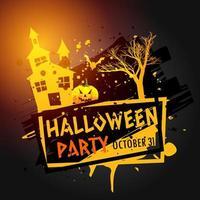 halloween-festbild med spökhus, träd och pumpa