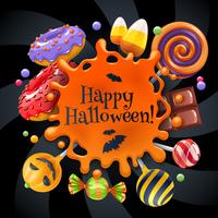Fundo de festa colorido de doces de Halloween