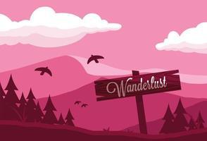 Wanderlust firmar en remolque de montaña