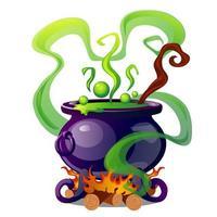 Caldero de acero con poción mágica verde hirviendo
