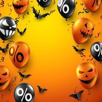 Oranje Halloween-verkoopposter met knuppels, ballons en serpentijn