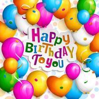 Tarjeta de felicitación de feliz cumpleaños con globos de fiesta coloridos y confeti