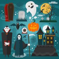 Halloween-Grafik mit Vampir, Schloss, Tod, Geist und anderen Horrordekorationen
