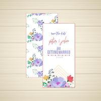 Invitación de boda floral con fecha y anverso en la fecha