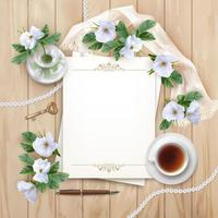 Top View Wooden Background with Paper, Pen and White Flowers