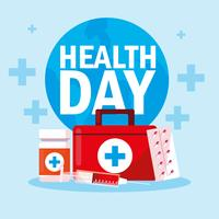Weltgesundheitstagskarte mit Erste-Hilfe-Kasten