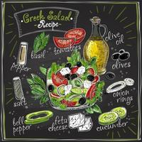 Projeto de lousa de receita de salada grega, menu de salada com ingredientes