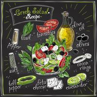 Grekisk tavladesign för salladrecept, salladmeny med ingredienser