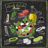 Greek salad recipe chalkboard design, salad menu with ingredients