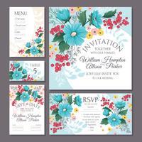 Conjunto de invitaciones de boda florales