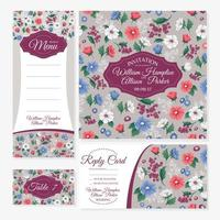 Uppsättning blommiga bröllop kort