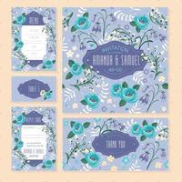 Conjunto de cartões de casamento floral