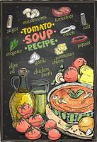 Tomato soup recipe chalkboard design, soup menu with ingredients
