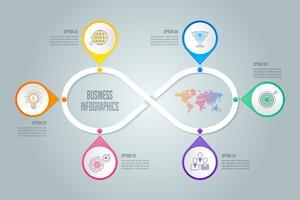 Infografik-Design-Business-Konzept mit 6 Optionen, Teile oder Prozesse.