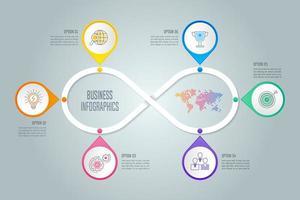 concetto di business design infografico con 6 opzioni, parti o processi.