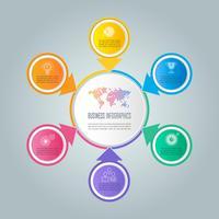 infographic ontwerp bedrijfsconcept met 6 opties, onderdelen of processen.