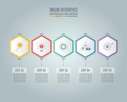 Conceito de negócio infográfico com 5 opções.