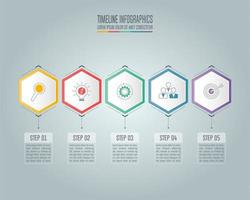 Infographic business concept with 5 options.