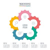 Concepto de negocio de diseño infográfico con 5 opciones.