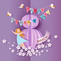 Women's Day card with woman, flowers, birds and bunting