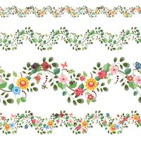 floral set of seamless borders