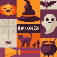 Cartaz criativo com itens de Halloween e personagens