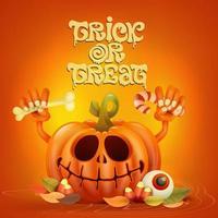 Personagem de abóbora engraçada em fundo laranja