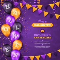 Halloween bakgrund med ballonger och flaggor