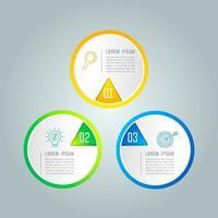 Concept creativo per infografica con 3 opzioni, parti o processi.