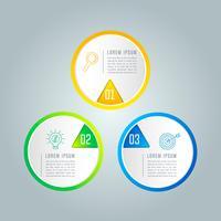 Kreatives Konzept für Infografik mit 3 Optionen, Teilen oder Prozessen.
