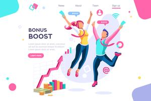 Bonus management graphic with jumping people