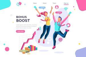 Bonus-Management-Grafik mit springenden Menschen