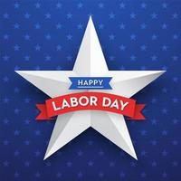 Happy Labor Day Star Vector Card Template