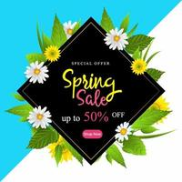 Spring Sale Poster with Flowers and Leaves