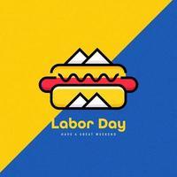 Fondo de Hot Dog de celebración del día del trabajo