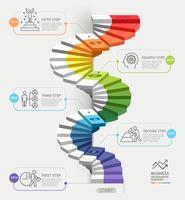 Steg för att starta en affärsmall. Vektorillustration. Kan användas för arbetsflödeslayout, diagram, nummeralternativ, webbdesign, infografik och tidslinje.