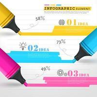 Infographie avec des marqueurs colorés, tracer des lignes