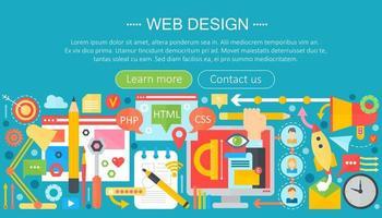Concept plat de conception Web avec des applications de programmation et infographie