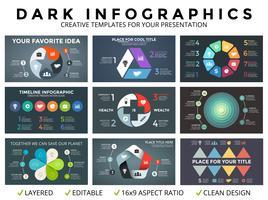 Vector círculo flechas infografía, diagrama de ciclo, gráfico, plantilla de gráfico de presentación. Concepto de negocio con 3, 4, 5, 6, 7, 8 opciones, partes, pasos, procesos. Fondo oscuro
