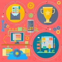 SEO och utvecklingskoncept med infografikoner i cirklar
