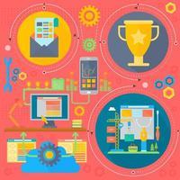 SEO- und Entwicklungskonzept mit infographics Ikonen in den Kreisen