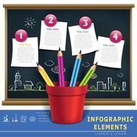 kreative Vorlage Infografik mit Stiften und Flussdiagramm