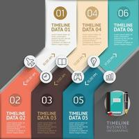 Timeline infographic template with 6 steps